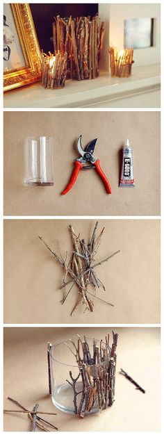 Making crafts together as a family. What fun this would be for a rustic wedding reception.  DIY Decorative Tree Branches Candle Holder
