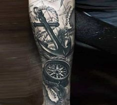 Awesome black and grey realistic tattoo style of Anchor and Compass motive done by tattoo artist Khuong Duy