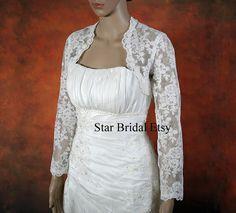 Long Sleeve Ivory Lace Wedding Bridal Bolero Jacket by StarsBridal
