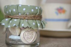 Love Heart Jar Wedding Favour - Dusty green mini candy jar with shabby chic covers. via Etsy. Wedding Favour Jars, Candy Wedding Favors, Wedding Signs, Our Wedding, Wedding Stuff, Wedding Flowers, Dream Wedding, Love Heart Sweets, Bridal Shower Party