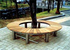wood bench around a tree | Circular Outdoor Wooden Benches Rounded Tree for Gardens and Park HA ...