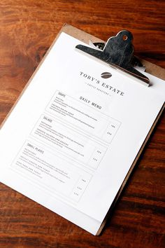 A no-nonsense clipboard menu coupled with mono weight icons and information graphic placement show that when it comes to coffee, Toby's Estate means business.