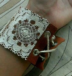 Vintage lace and leather cuff bracelet. $20.00, via Etsy.