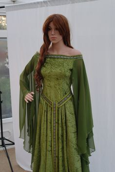 Fabulous elven style gown handmade by me for you to fit you perfectly - made in your measurements  the gown is in a pale olive green crushed