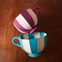 I've created this paper art template and tutorial so that you can make your own tea cups. Perfect for use as gift boxes or as decoration!