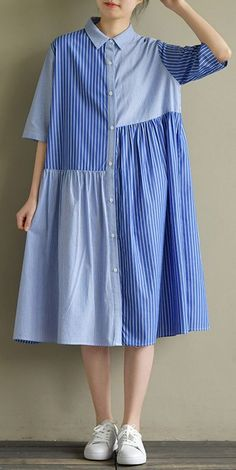 Load image into Gallery viewer, Bohemian lapel half sleeve Cotton Tunic Sewing blue striped Dress summer Linen Dresses, Women's Dresses, Cotton Dresses, Blue Dresses, Fashion Dresses, Mode Abaya, Mode Hijab, Blue Dress Outfits, Striped Dress Outfit