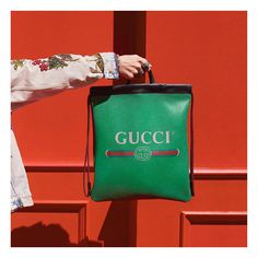 """118.5k Likes, 331 Comments - Gucci (@gucci) on Instagram: """"A vintage inspired Gucci logo is printed on a leather tote which also can be worn as a backpack…"""""""