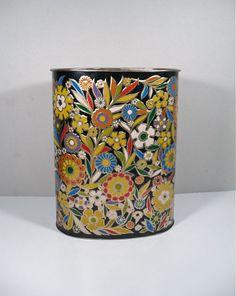 Reserved for Teresa / Decorative Metal Waste Basket - Trash Can Vintage Vanity, Vintage Perfume, Retro Vintage, Cosmetics Plus, Kitchen Trash Cans, Gold Highlights, Black Backgrounds, Floral Design, Basket