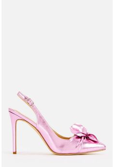 JustFab Newla Sling-Back Bow Pump Womens Metallic regular Size 11 Pumps, Heels, Pretty In Pink, Metallic, Platform, Size 12, Leather, Products, Fashion