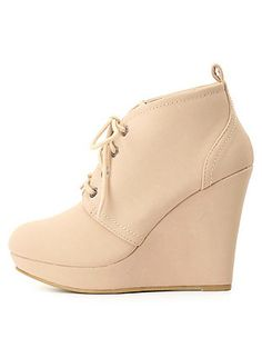 Bamboo Lace-Up Platform Wedge Booties: Charlotte Russe