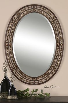 Matney mirror with rubbed bronze and antiqued gold