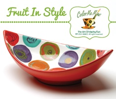 Freestyle hand painted circles. The fruit will be so happy in this bowl.