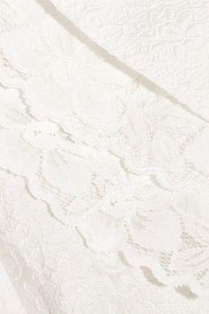 Oscar de la Renta - Fluted Lace-trimmed Cotton-blend Cloqué Skirt - White - US4