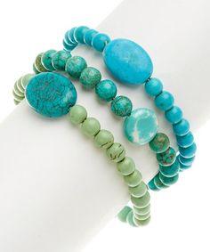 Turquoise & Green Magnesite Beaded Stretch Bracelet Set #zulily #zulilyfinds #boho #southwest #turquoise #jewelry #jewelrysale #giftidea #bracelet #necklace #earrings #gemstone #sale #gift #fashion #fashionjewelry #jewelry #pavcusdesigns