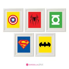 Superhero Wall Art,  Superhero Art, Superhero logos, Boys Decor, Play Room decor, Instant download on Etsy, $6.00