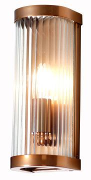 Wall light featuring curved reeded glass. Metalwork in copper finish. Other finishes and glass colours available. Please contact us for details.