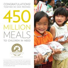 Together we have provided 450 million meals to children in need. Thank you! #NuSkin #FFG #forceforgood #NuSkinGives