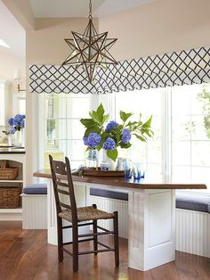 In this bay window, custom Roman shades were the answer to a streamlined look -- despite bends in the walls. The wide expanse shares a single shade.On side windows, shades are custom-fit to individual windows. To give the entire bay a united look,the designer carefully lined up the folds on the fabric's diamond pattern.
