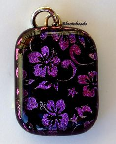 Hibiscus Dichroic Glass Pendant by blazinbeads on Etsy, $17.00