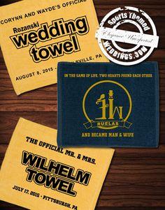 Wedding Guest Favors - Custom Rally Towels from SportsThemedWeddings.com  #baseballwedding  #stwdotcom