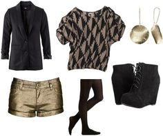 Outfit idea: Geometric print tee, gold metallic shorts, black opaque tights, wedge ankle booties, black blazer