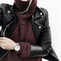 leather moto jacket, burgundy sweater... | Street Fashion