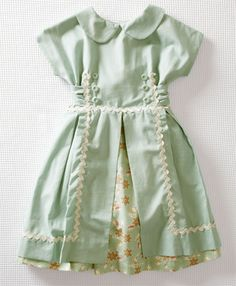 Mia dress - mint green with cream rick-rack, peter pan collar, and floral underlay.