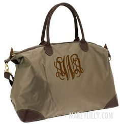 Monogrammed Champ Taupe Weekend Travel Bag