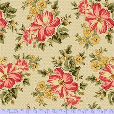 Romantic Renaissance - Pink Floral 0913-0133 Soft beiges are the backdrop for pretty pink and blue prints with a traditional feel. Molly B's lead wallpaper stripe lends itself to creative cutting and piecing.100% cottonFabric Width 112cm / 44""