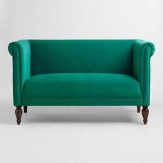 Emerald Green Velvet Marian Loveseat | World Market