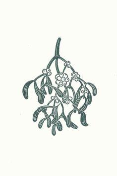 Mistletoe Linocut Christmas Card