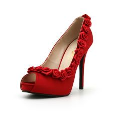 Red Rose High Heel Shoe. Red Wedding Shoes. Rose Shoes. Wedding Shoe. Floral Shoes