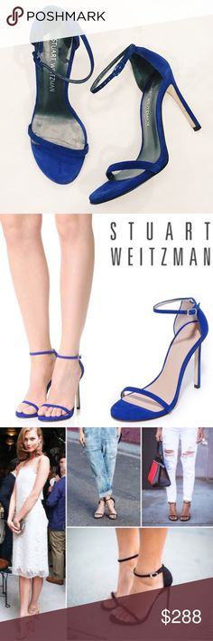 """New Stuart Weitzman """"Nudist"""" in electric blue New Stewart Weitzman """"Nudists"""" sandals. Bloggers' and celebrities favorite show and Vibrant suede blue color, sandals with delicate straps. A petite cutout accents the heel. Buckle ankle strap. Covered heel and leather sole. Size 6, but I personally think that SW run a little big and would fit 6.5-7. Display shoe. Refinished sole   Made in Spain.  Measurements Heel: 4.5in. Reasonable offers are welcome Stuart Weitzman Shoes Heels"""