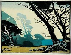 "William Seltzer Rice · ""Windblown Cypress - 1930 - Treseder William Seltzer Rice, 1873 - 1963 Color Woodcut Block Print on Paper x Woodcut Art, Linocut Prints, Art Prints, Block Prints, Illustrations, Illustration Art, Botanical Illustration, Ligne D Horizon, Photo D Art"