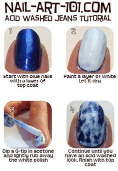 Blue/White Nails