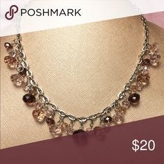 Avenue brown crystal choker. Avenue brand, brown ombré beads of all different sizes on silver tone chain. Matching dangle earrings in my closet. NWOT. Avenue Jewelry Necklaces