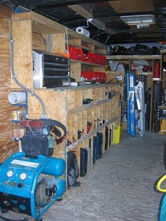 Job site trailers, show off your set ups!, Page 22 - Contractor Talk - Professional Construction and Remodeling Forum Trailer Shelving, Van Shelving, Trailer Storage, Truck Storage, Garage Storage, Work Trailer, Trailer Plans, Trailer Build, Van Storage