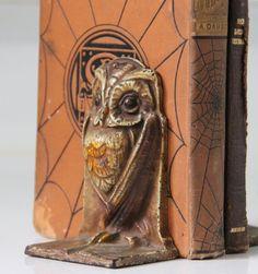 Antique Art Nouveau Deco Wise Owl Bookends Cast by bellusvanitas, $235.00