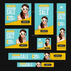 Buy Fashion Sale Banners by Hyov on GraphicRiver. Promote your Products and services with this great looking Banner Set. Banner Design Inspiration, Web Banner Design, Web Banners, Corporate Website Design, Google Banner, Facebook Cover Design, Display Ads, Google Ads, Sale Banner