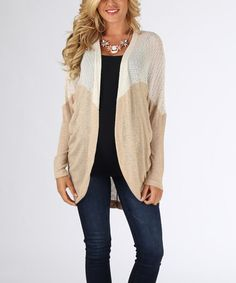 Look at this #zulilyfind! Ivory & Beige Long Maternity Open Cardigan by PinkBlush Maternity #zulilyfinds