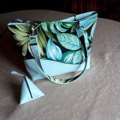 Sac Samba bleu-vert feuillage cousu par Martine - Patron Sacôtin