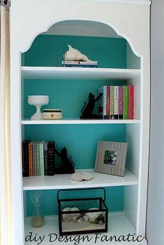 Cute Book Shelf Idea. Paint the back.