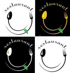 Illustration about Face from a spoon and fork with a salad leaf restaurant art minimalist logo. Illustration of catering, leaves, diet - 118835864 Restaurant Names, Food Logo Design, Logo Food, Kitchen Logo, Kitchen Art, Easy Food Art, Catering Logo, How To Make Logo, Craft Ideas