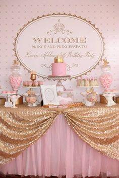 Mesa de festa Princesa em dourado e rosa!  #princesa #festadeprincesa #festa #douradoerosa