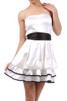 White Bridesmaid Cocktail Club Party Prom Women Juinor Strapless Layered Satin Bubble Mini Dress Size Small S $ 36.99