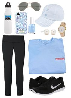 """.sporty."" by sofiaestrada ❤ liked on Polyvore featuring Patagonia, Vineyard Vines, NIKE, J.Crew, Lilly Pulitzer, Essie, Tiffany & Co. and Kate Spade"