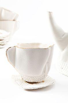 Rachel Boxnboim / ceramic cast inside fabric moulds