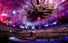 Fireworks dazzle the crowds in the Olympic Stadium during the opening ceremony at the 2012 Summer Olympics in London, England, on July 27, 2012.