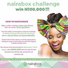 """WIN N100000 & MORE IN YEMI ALADE'S #NAIRABOXCHALLENGE   Naira BoxandEffyzzie Music Grouppresents""""Yemi Alade's #NairaBoxChallenge""""; for a chance to win the whooping sum of One Hundred Thousand Naira.  How ToParticipate:  Make a video creating a unique sign-off tune with the words""""do it quicker"""".  Post the video on Instagram using the hashtags#nairaboxchallenge #doitquicker #wantyouAlso Cc @nairabox and @yemialade  Yemi Alade will hand pick the 10 best videos and it will be reposted on…"""
