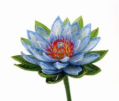 Sacred Blue Lotus Beaded Flower  French Beaded Glass & Wire